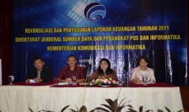Sekretaris Ditjen SDPPI membuka acara Rekonsiliasi dan Penyusunan Laporan Keuangan Semester ke-II Tahun 2011.