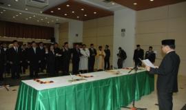 Sekjen Kemkominfo membuka acara pelantikan pejabat eselon II, III, dan IV Kemkominfo