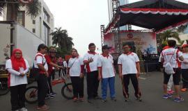 Plt Direktur Penataan Sumber Daya Denny Setiawan, Kabag Umum dan Kepegawaian Hasyim Fiater dan  Direktur Pengendalian SDPPI Dwi Handoko menghadiri  Panggung Bangkit Indonesia