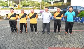 Dari kiri ke kanan:  Sesditjen SDPPI, Sadjan, Direktur Pengendalian, Dwi Handoko, Direktur Operasi Sumber Daya, Rakhmat Widayana, Kepala Bbppt, Moch. Rus'an, Plt Direktur Standardisasi, Moch. Hadiyana Dan Plt Direktur Penataan Sumber Daya, Denny Setiawan hadir pada acara silaturahmi Idul Fitri  1438 H (4/7).