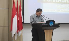 Penyampaian laporan kegiatan oleh Ka Biro Kepegawaian dan Organisasi, Cecep Ahmed Feisal.