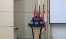 Manajer Utama Divisi Pelayanan dan Pemasaran PT. Taspen, Tawan, menyampaikan berbagai informasi layanan bagi pensiunan PNS.