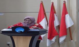 Sekjen Kemkominfo, Farida Dwi Cahyarini menyampaikan ucapan terima kasih kepada pegawai purnabhakti.