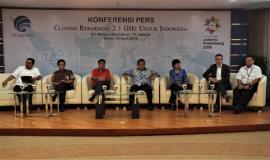Menteri Komunikasi dan Informatika (Rudiantara) 16/4 -2018, jumpa pers terkait selesainya refarming pita frekuensi radio 2.1 GHz, di Jakarta, Senin (16/4).