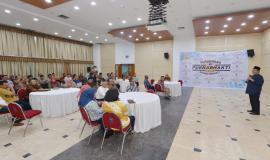 Menkominfo Rudiantara memberikan sambutan pada acara Purnabhakti Kemkominfo (31/5).