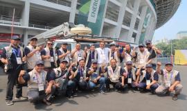 Menteri Komunikasi dan Informatika (Rudiantara) bersamaTim Ditjen SDPPI yang terdiri dari Direktorat Pengendalian SDPPI dan 10 Unit Pelaksana Teknis (Balmon DKI Jakarta,18/8 2018)