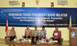 Para Narasumber dan Moderator Bimbingan Teknis Perangkat Radio Nelayan Bandar Lampung 6/9 2018