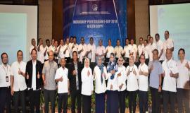 Foto bersama Dirjen SDPPI (Ismail) tengah dan Para Pejabat Eselon II,III dan IV dalam acara Workshop Penyusunan E - SKP 2018 Ditjen SDPPI