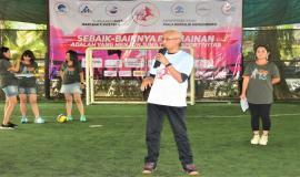 Sambutan Ketua Umum Panitia Hari Bhakti Postel ke 73 2018 (Gilarsi Wahyu Setijono) Dirut PT Pos Indonesia