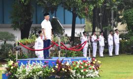 Kepala Balitbang SDM Kemkominfo (Basuki Yusuf Iskandar) selaku pemimpin upacara sumpah pemuda 29/10 2018