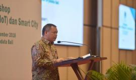 Direktur Standardisasi PPI Mochamad Hadiyana membuka secara resmi kegiatan Workshop IoT dan Smart City, Bali (14/11).