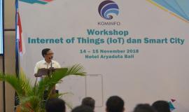 Kepala Diskominfos Provinsi Bali Nyoman Sujaya memberikan sambutan pada kegiatan Workshop IoT dan Smart City, Bali (14/11).