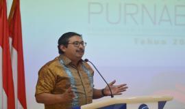Plt. Sekretaris Jenderal Kemkominfo Ismail memberikan sambutan pada acara Pelepasan Purnabakti Kominfo (28/12).