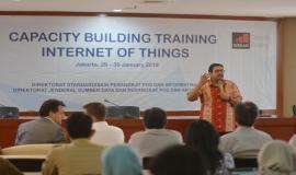 Dirjen SDPPI Ismail memberikan sambutan sekaligus membuka acara secara resmi dalam kegiatan Capacity Building Training IoT (29/1).