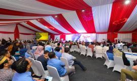 Situasi saat berlangsungnya salah satu rangkaian kegiatan Buka Puasa bersama Keluarga Besar dan Mitra Kerja Kemkominfo di Jakarta (8/4).
