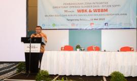 Sambutan dan pembukaan secara resmi oleh Direktur Operasi Sumber Daya Dwi Handoko pada kegiatan Temu Mitra Pelayanan Perizinan SFR dan SOR di Banten (21/5).