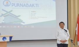 Menkominfo Rudiantara memberikan sambutan pada acara Pelepasan Purnabakti Kominfo di Jakarta (31/7).