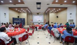 Situasi saat acara Pelepasan Purnabhakti berlangsung di Ruang Roeslan Abdulgani, Kemkominfo, Jakarta (31/7).