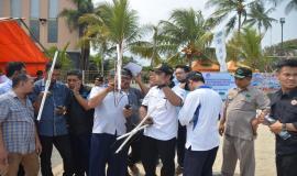 Situasi saat berlangsungnya simulasi Dukungan Komunikasi Kebencanaan di Anyer, Banten (27/8)