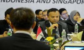 Pembukaan kegiatan Border Communication Coordination Meeting-19 oleh Direktur Penataan Sumber Daya Denny Setiawan antara Indonesia dan Singapura di Batam (28/8).