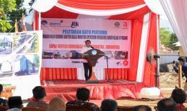 Menteri Komunikasi dan Informatika RI Rudiantara memberikan sambutan dan selamat atas pembangunan gedung kantor baru Balai Monitor Kelas II Padang pada Jumat (23/8).