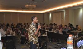 Praktisi dan Akademisi Bidang Statistik dan Data Yunarso Anang,memaparkan terkait dengan