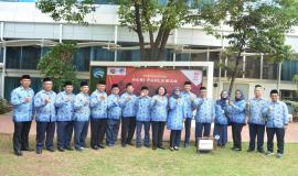 Pejabat eselon I dan eselon II di lingkungan Kementerian Komunikasi dan Informatika yang hadir pada Upacara Peringatan Hari Pahlawan ke-74