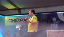 Arief Qomaruddin memberikan paparan saat sesi seminar pada kegiatan KOMEXPO 2019 di Jakarta (26/8).