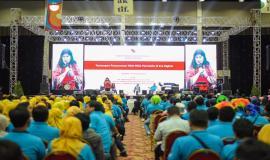 Sesi Talkshow pada acara Kominfo Connect 2020, di Ecovention Hall Ecopark, Ancol, Jakarta, Kamis (30/01).