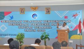 Dirjen SDPPI Ismail memberikan sambutan pada kegiatan Pembukaan Pelatihan Pembentukan Pengendali Frekuensi Radio Tingkat Terampil (11/3).