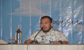 Kasubag Perlengkapan dan Rumah Tangga Among Wardoyo membuka Workshop Aplikasi Sistem Informasi Manajemen dan Akuntansi Barang Milik Negara (SIMAK BMN) dan Persediaan, di Hotel Melia Purosani Yogyakarta (13/3).